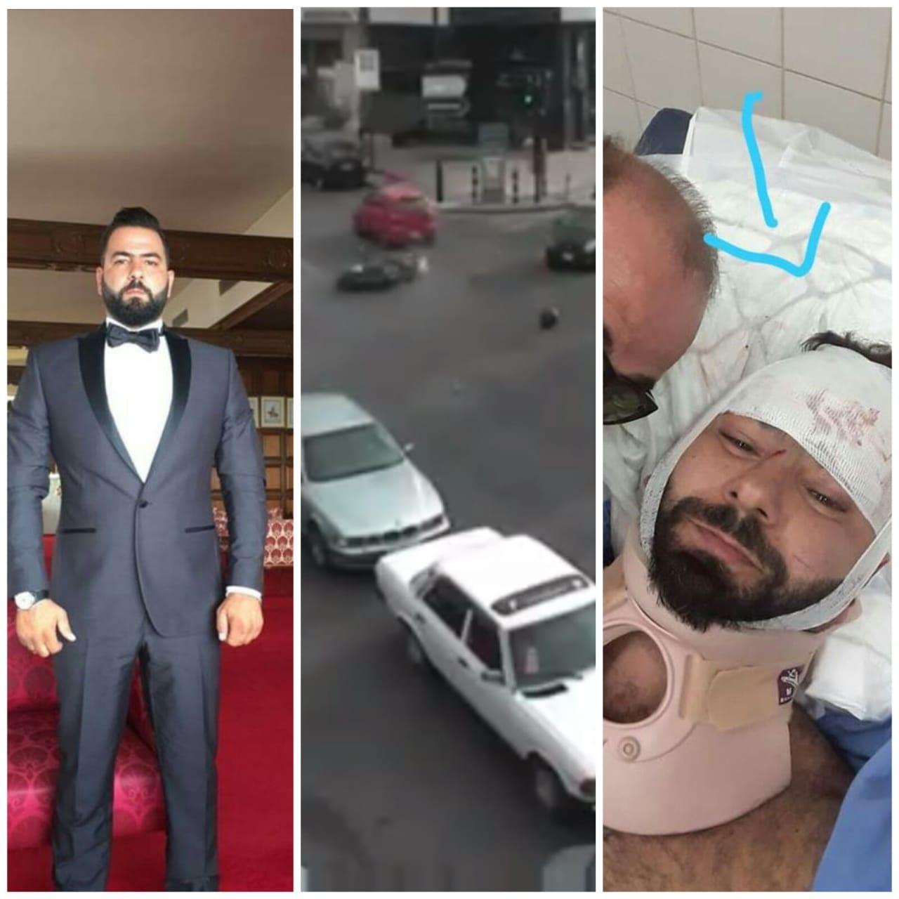 """بالفيديو/ في الأشرفية...صدمه وفر هاربا مما ادى الى اصابة """"ايلي"""" ابن الـ36 عاما بكسور ورضوض"""
