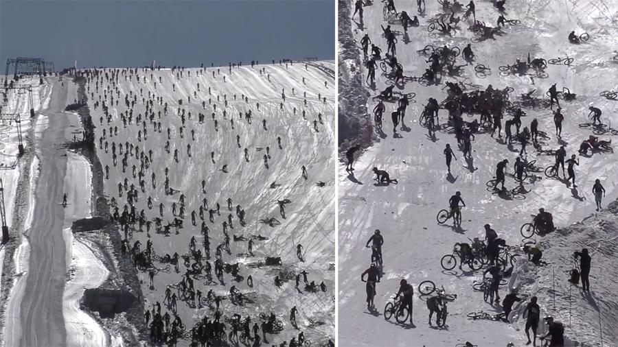 """بالفيديو/ """"سباق جبل الجحيم"""" يسجل تصادماً جماعياً مخيفاً...مئات الدراجات الهوائية تنحدر بسائقيها في جبال الألب وتصطدم ببعضها البعض!"""