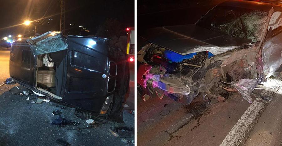 بالصور/ حادث تصادم قوي بين سيارتين في فيطرون - كسروان