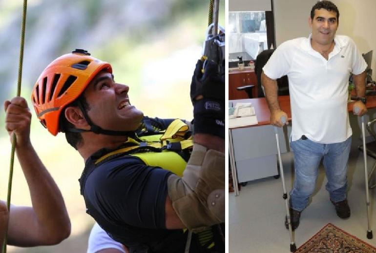 """تحدى الشلل والظروف .. اللبناني """"مايكل""""  صعد لأعلى قمة جبلية """"على عكازين"""" ويستعد لـ""""القطب الشمالي""""!"""